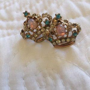 Awesome faux opal crown earrings 1940s